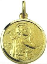 SOLID 18K YELLOW GOLD ROUND MEDAL, SAINT JOHN THE BAPTIST, DIAMETER 17mm image 1