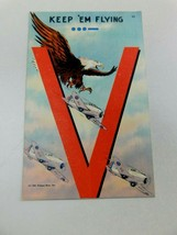 "Vtg Linen ""V"" Keep 'em Flying Victory Series 1941 Postcard Tichnor Bros V5 - $18.99"