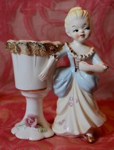 Lipp & Mann Creations stiff Fabric Lady with Vase made in Japan - $14.84