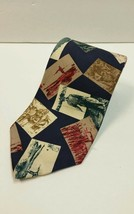 Eddie Bauer Neck Tie Fishing 100% Silk Fisherman pictures Novelty Vintage - $14.18