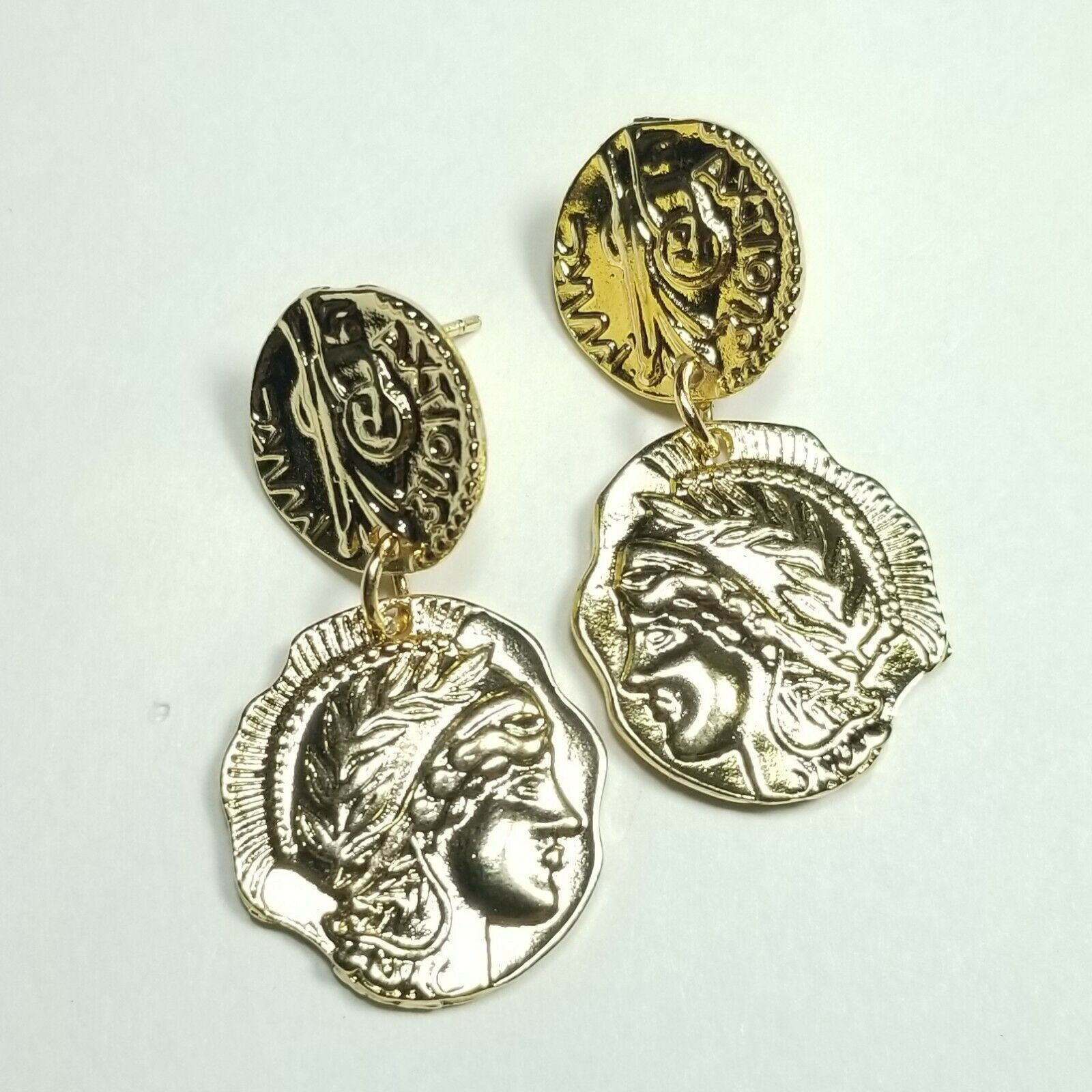 Primary image for E0058 Gold Colored Metal Circle Embossed Roman Coin Design Drop Dangle Earrings