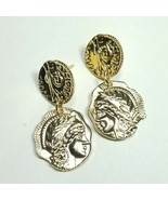 E0058 Gold Colored Metal Circle Embossed Roman Coin Design Drop Dangle E... - $7.49