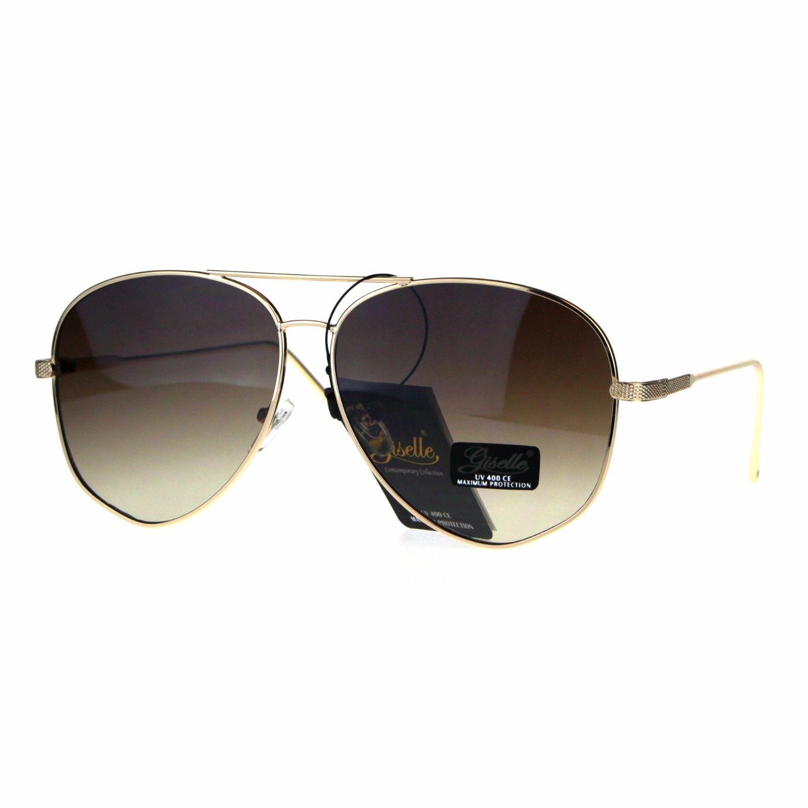 Giselle Womens Oversize Designer Fashion Pilots Metal Rim Sunglasses