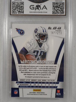 2014 Prizm 167/200 Antonio Andrews Auto Rookie Prizm GMA Graded Gem 10