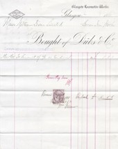 Glasgow Locomotive Works 1885 To Wm Dixon Ltd Iron Works Stamp Invoice R... - $7.55