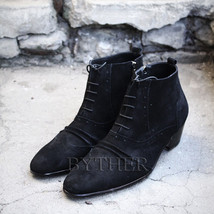 ByTheR Men's Modern Classic Soft Black Shammy Leather Ankle Boots Dress ... - $182.50