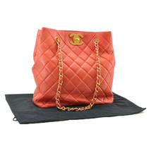 CHANEL Lamb Skin Chain Matelasse Shoulder Bag Red CC Auth 9355 - $2,180.00