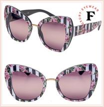 DOLCE & GABBANA PRINT FAMILY 4319 Black Stripe Pink Roses Sunglasses DG4... - $296.01