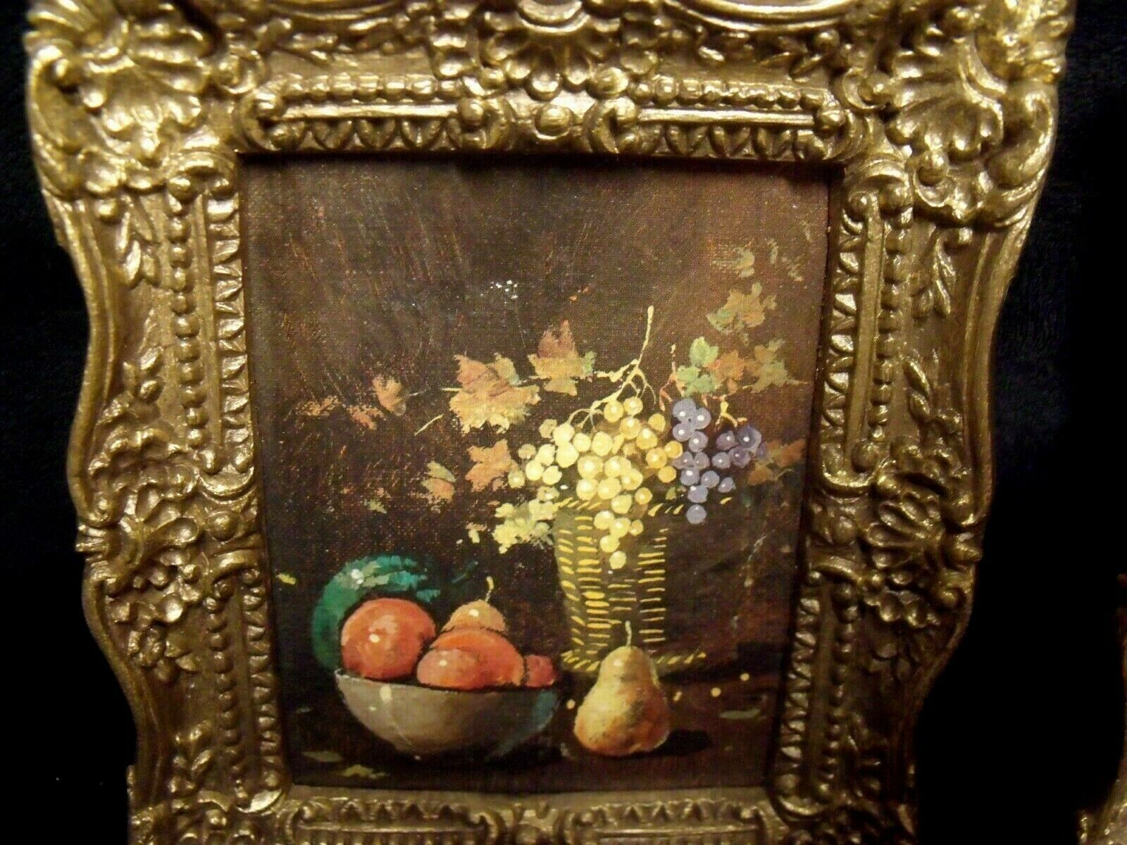 "PAIR OF ORNATE SMALL  4.5"" BY 5.5"" BURWOOD FRAMES WITH STILL LIFE PRINTS"