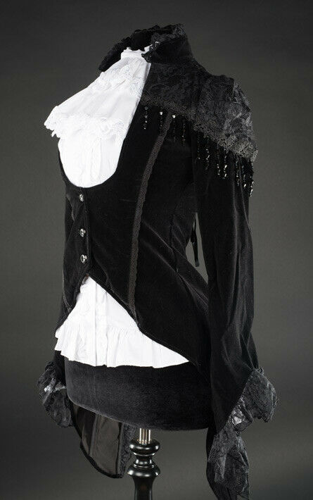 Black Velvet Victorian Vampire Gothic Corset Back Jacket Steampunk Tailcoat image 2