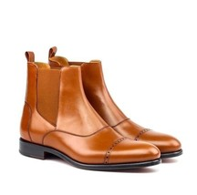 Handmade Men's Brown Two Tone Leather High Ankle Chelsea Style Leather Boot image 2
