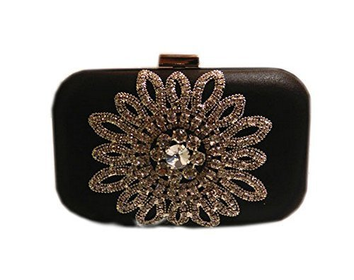 Fashion Sunflower Rhinestone Party Clutch Black Clutch for Women
