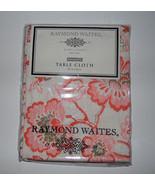 Raymond Waites New York  Tablecloth 60 x 84 in ORANGE CREAM FLORAL NIP - $24.24