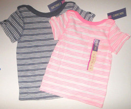 Cherokee Toddler GirlsT- Shirt  Pink or Blue With Strips 3T or 5T NWT - $5.99