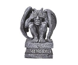 4 Inch See No Evil Engraved Sitting Gargoyle Statue Figurine - £8.77 GBP