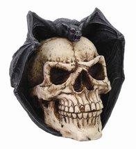 PTC Skull with Bat Skull Head Statue Cold Cast Resin Figurine - £23.40 GBP
