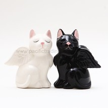 3.5 Inch Black and White Angelic Cats Salt and Pepper Shakers Set - $10.67