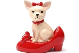 Pacific Giftware Chihuahua in Red Pumps Top Bottom Magnetic Ceramic Salt... - $10.63