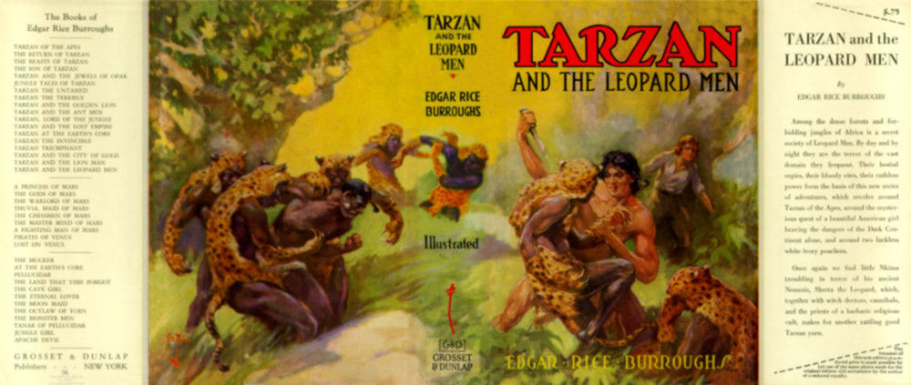 Burroughs facsimile dust jacket for 1st G & D TARZAN AND THE LEOPARD MEN