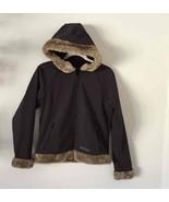 Marmot Hooded Jacket Black Soft Shell / Fleece Lined Fur-Trim Hood Casua... - $49.49