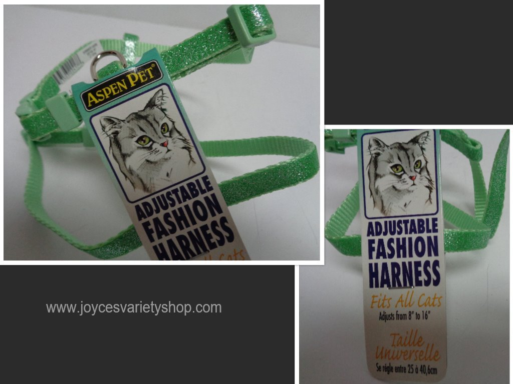 Green cat harness collage
