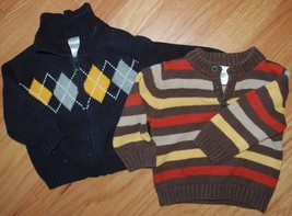 *Lot of 2* Boy's Gymboree Size 6-12M Cotton Sweaters Holiday Thanksgiving Argyle - $24.74