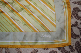 Women's ECHO Square Neck Scarf - Rolled Edges - Gold/Brown/Green Geometric - $12.86