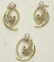 Vintage Gold Tone Filigree & Faux Pearl Pendant & Earrings - $10.99