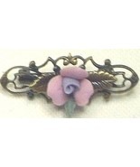 1928 Designer Gold Tone Porcelain Rose Bar Pin ... - $10.99