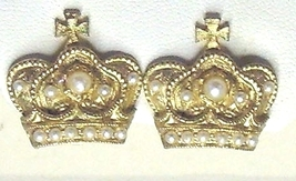 Vintage Faux Pearl and Gold Tone Crown Clip On Earrings - $10.99