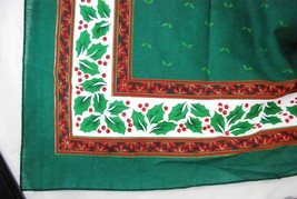 """Vintage Tablecloth 40x40 40"""" Square Green Holly & Berries Christmas - Ca... - $24.74"""