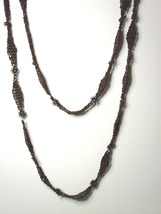 """Vintage Hippie Seed Necklace Brown 44 """" - $10.99"""