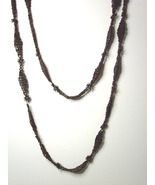 "Vintage Hippie Seed Necklace Brown 44 "" - $10.99"