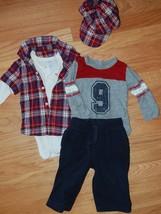 TCP Boy's 4pc Outfit Lot Sz 6-12M Red Plaid Flannel Bodysuit Hat Fleece Pants - $24.74