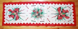 Vintage 1950's Christmas Table Runner - Centerpiece Candles Candies - Linen - $39.10