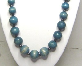 Vintage 80's Wood Teal Blue Large Bead Necklace - $9.99