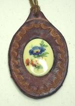 Vintage Leather & Floral Porcelain Medallion Necklace - $9.99