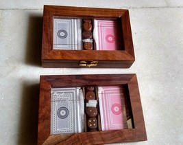 4 DECKS OF PLAYING CARDS SHEESHAM WOOD BOX & 10 DICE (17.5X11.5 X 4) CM,... - $58.41