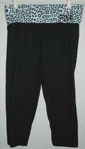VICTORIA'S SECRET PINK YOGA Small S Black Leopard Print Capri Leggings -... - $24.74