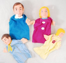 *Set of 4 Family Hand Puppets* Vintage Handmade Puppet Theater Fabric & ... - $34.63