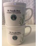 Starbucks White Ceramic Stacking Set of 2-12oz  Green Leaf & Berries 20... - $22.00