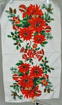 Vintage Christmas Linen Table Runner Centerpiece Poinsettias Ornaments H... - $19.77