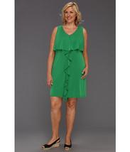 Jessica Simpson Plus-Size Ruffle Front Dress Size 16W Green Celery Sleev... - $59.39