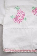 Vintage Embroidered Pillowcase Handmade - Pink Floral Crochet & Ric Rac ... - $14.83