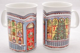 *2* DUNOON Victorian Christmas Mugs *Cat Front Door Window Tree Snow* Sc... - $19.79