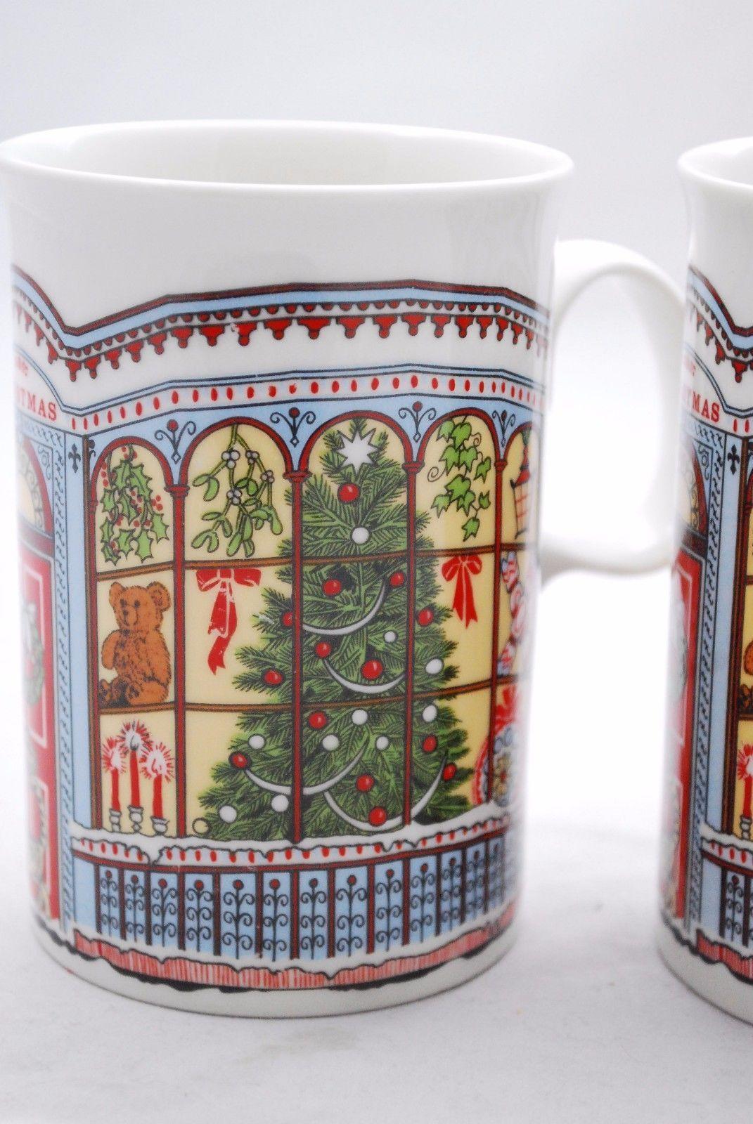 *2* DUNOON Victorian Christmas Mugs *Cat Front Door Window Tree Snow* Scotland