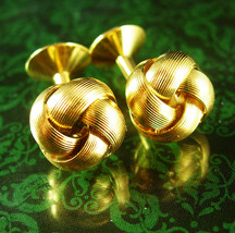 GoldLOVE knot Cufflinks Wedding Vintage eternity set Gold snake design m... - $95.00