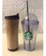 Starbucks Brown Travel Mug 12oz-2008/ 16oz--2012 Dome Iced Straw Insula... - $19.00