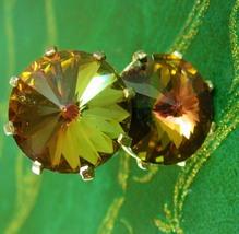 Vintage DANTE Rivoli Cufflinks Round Sparkles heliotope Prism glass gold jewelry - $95.00