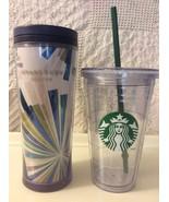 Starbucks Blue/Green Travel Mug 16oz-2009/16oz--2012 Iced Straw Insulat... - $25.00
